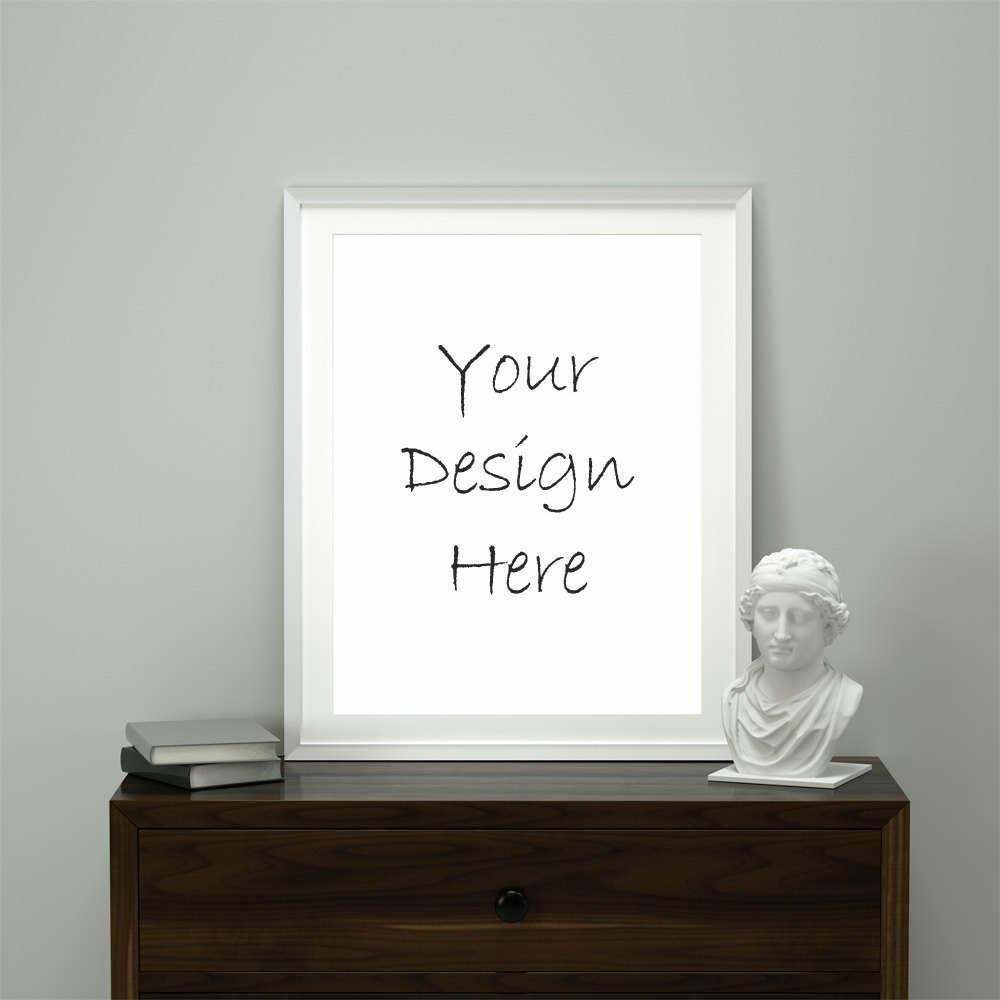 8×10 16×20 portrait white frame mockup, white frame on cabinet ...