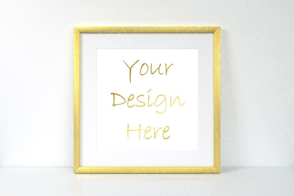 Square gold leaf frame mockup, Square gold empty frame, frame mockup ...